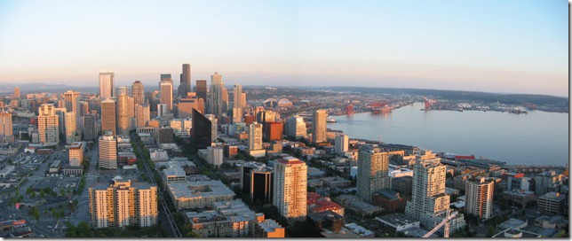 Downtown Seattle, Mount Rainier and the harbor