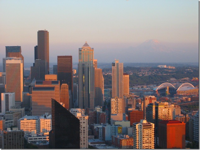 Downtown skyline with Mount Rainier in the distance